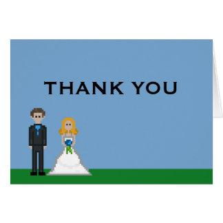 Cartão Noiva do Gamer do pixel & obrigado do casamento do
