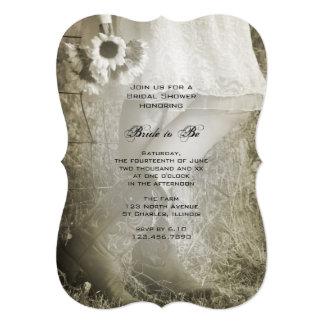 Cartão Noiva no Sepia do chá de panela do rancho das