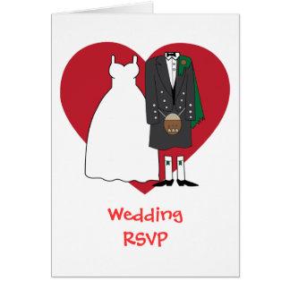 Cartão Noiva & noivo escoceses da aceitação do casamento