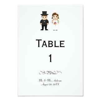 Cartão Noiva & noivo - número da mesa da recepção