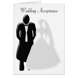 Cartão Noiva preto e branco com aceitação do noivo