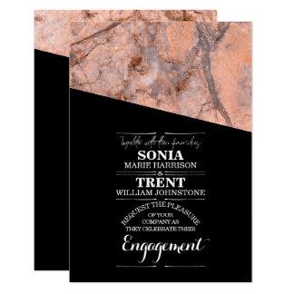 Cartão Noivado de mármore cor-de-rosa moderno de quartzo