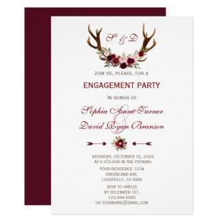 Cartão Noivado floral dos Antlers de Borgonha Marsala do
