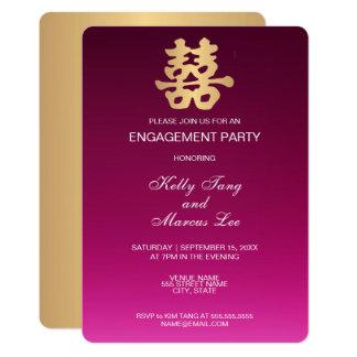 Cartão Noivado oriental da felicidade   do dobro do ouro