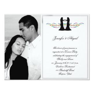 Cartão Noivas da elegância do arco-íris que Wedding o
