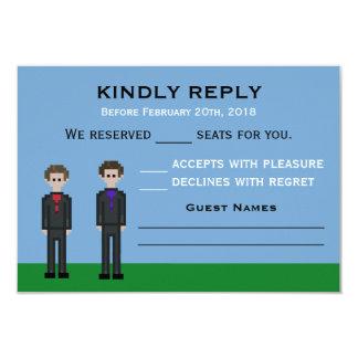 Cartão noivo do Gamer do pixel 8bit & casamento do noivo