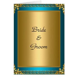 Cartão Noivos da cerceta do ouro do casamento