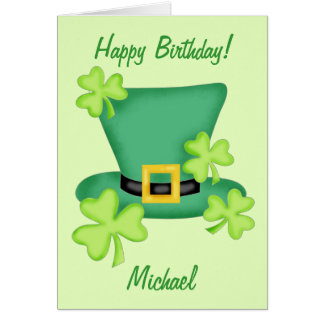 Cartão Nome do feliz aniversario de St Patrick