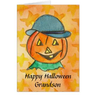 Cartão Nome feliz do costume do neto do Dia das Bruxas