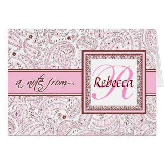 Cartão Nome Monogrammed cor-de-rosa de Paisley