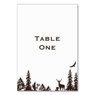 Cartão Nome ou número da mesa do casamento da floresta