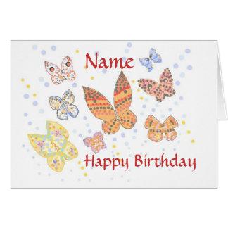 Cartão nomeado do aniversário da borboleta