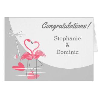 Cartão Nomes dos parabéns da lua do amor do flamingo