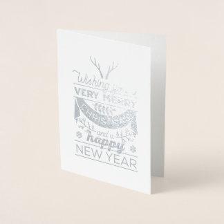 Cartão nórdico do feliz ano novo do Feliz Natal da