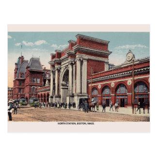 Cartão norte de Boston da estação do vintage