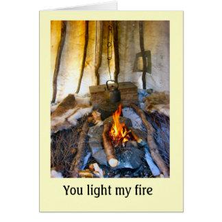 Cartão Noruega, dentro de uma barraca de Sami, Lapland