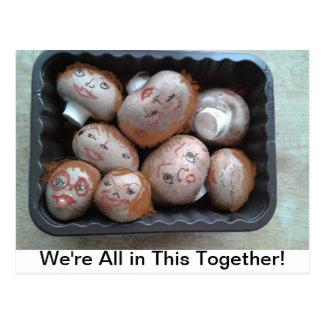 Cartão - nós estamos todos neste junto - cogumelos