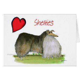 Cartão nós sheepdogs de Shetland do luv de Tony Fernandes
