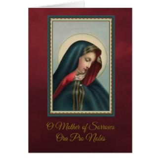 Cartão Nossa mãe dolorosa w/prayer de oferecimento maciço