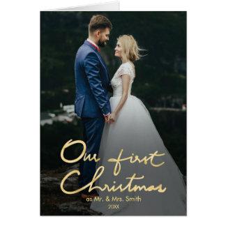 Cartão Nosso primeiro Natal como o Sr. & a Sra. foto do