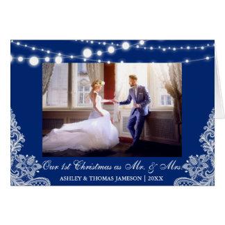 Cartão Nossos primeiros Sr. do Natal & Sra. azul do