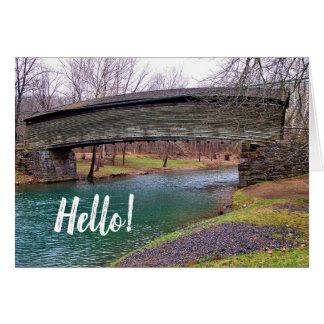 Cartão Nota de Virgínia da ponte coberta do Humpback olá!