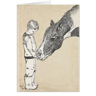 Cartão Nota delicada da conversação do menino e do cavalo