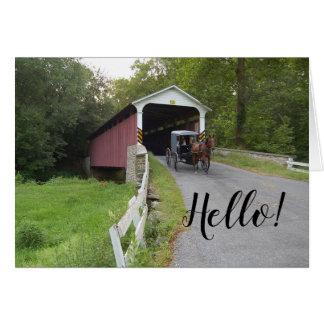 Cartão Nota do carrinho de Pensilvânia Amish da ponte