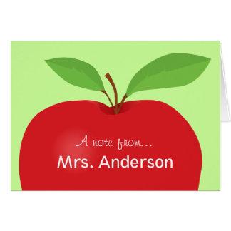 Cartão Nota vermelha de Apple A do notecard do professor