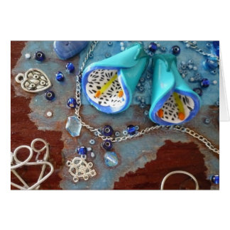 Cartão Notas azuis das flores de Bell