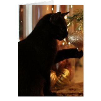 Cartão Notas do gatinho do Natal, gato preto/ornamento do