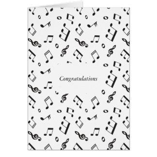 Cartão Notas musicais preto e branco