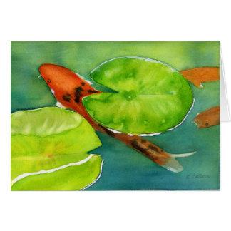 Cartão Notecard da lagoa de Koi
