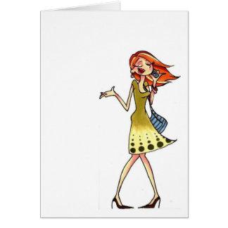 Cartão notecard das mulheres do telefone móvel
