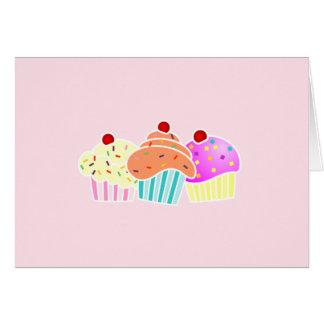 Cartão notecard de 3 cupcakes