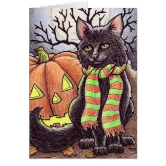 Cartão Notecard do gato do Dia das Bruxas