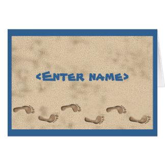 Cartão Notecard do monograma da praia