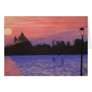 Cartão Notecard do por do sol de Veneza