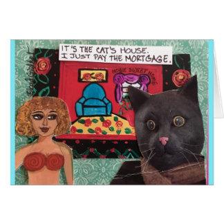 Cartão Notecard-é a casa que dos gatos eu apenas pago o