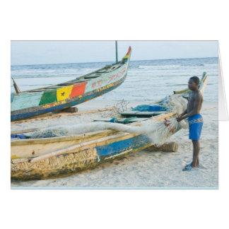 Cartão Notecard, menino com barco, Costa do Marfim,