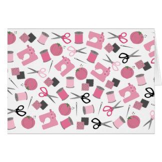 Cartão Notecard temático Sewing cor-de-rosa