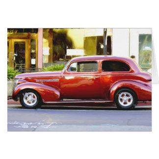 Cartão Notecard vermelho clássico do carro