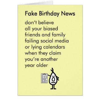 Cartão Notícia falsificada do aniversário - um poema