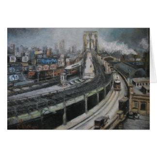 Cartão Nova Iorque do vintage que pinta a ponte de