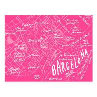 Cartão novo das viagens vintage cor-de-rosa da cartão postal