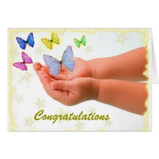 Cartão novo do bebê da borboleta