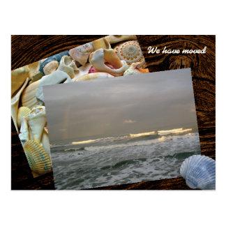 Cartão novo do endereço do modelo vivo litoral da cartão postal