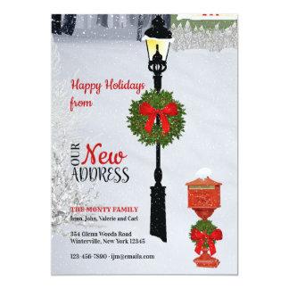 Cartão novo do feriado do endereço do Lamppost e