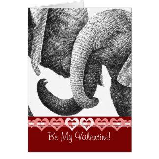 Cartão novo dos namorados dos elefantes africanos