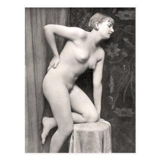 Cartão nu do francês da mulher